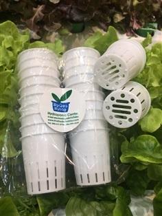 ถ้วยปลูกผักไฮโดรโปนิกส์สีขาว ใช้ซ้ำได้สำหรับเพอร์ไรท์