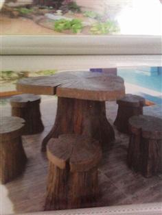 โต๊ะปูนลายไม้