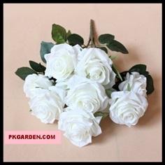 (ดอกไม้ปลอม)ดอกกุหลาบสีชมพูอ่อนช่อ 10 ดอกราคาถูกคุณภาพดี