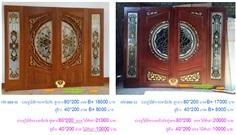 ประตูไม้สักกระจกนิรภัย ราคาถูก