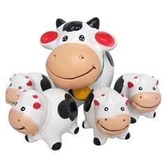 ครอบครัววัวแต่งสวน(ขาว)(เซรามิก)