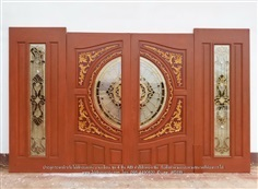 ประตูไม้สักกระจกนิรภัยบานเลื่อน ชุด4ชิ้น A89 งานไม้สักอบแห้ง