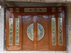 ประตูไม้สักกระจกนิรภัยชุด7ชิ้น