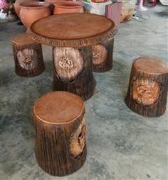 ชุดโต๊ะสนามแต่งสวน ลายเปลือกไม้