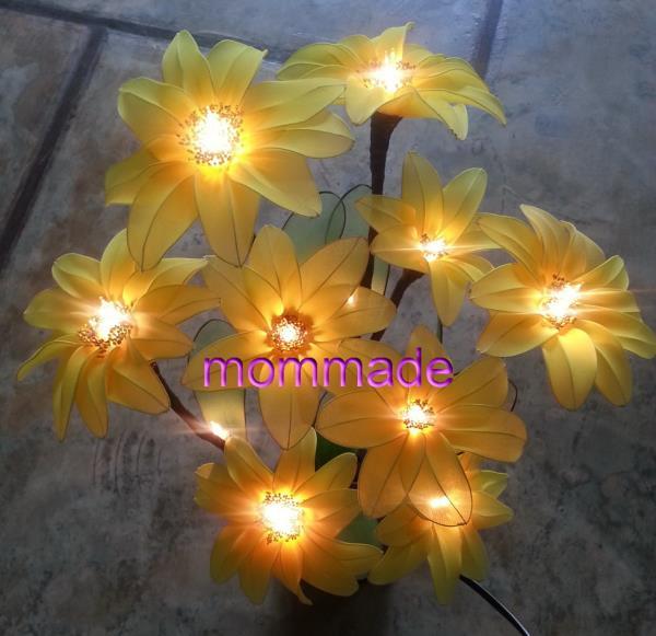 ไฟดอกบัวตอง,ดอกบัวตอง,ดอกไม้ประดิษฐ์,ดอกไม้ผ้าใยบัว,โคมไฟ,ดอกไม้,ของตกแต่งบ้าน,ดอกไม้ประดิษฐ์