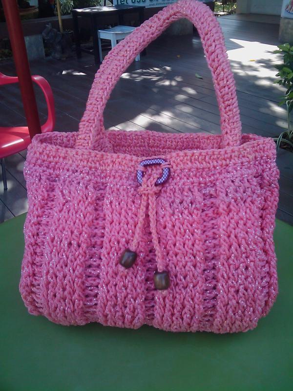 กระเป๋าไหมพรมถักด้วยมือ The bag handmade