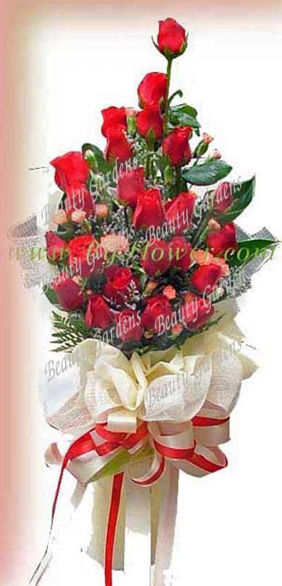 ช่อดอกไม้ด้านเดียว ขนาดใหญ่ กุหลาบแดง ยิปโซ
