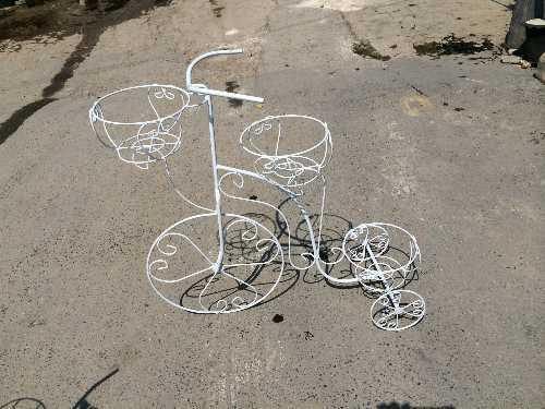 จักรยานเหล็กใส่ต้นไม้ 3 ตะกร้า,จักรยานเหล็กดัดใส่ต้นไม้,กระถาง