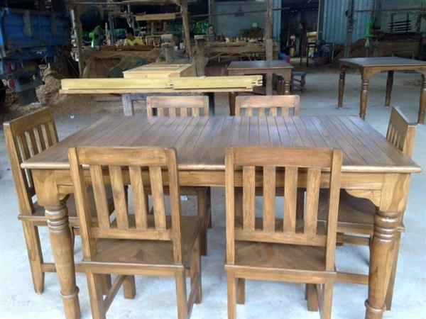 โต๊ะกินข้าวไม้สักเก้าอี้6ตัว