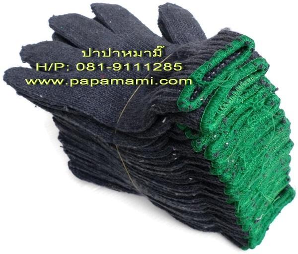 ถุงมือผ้าสีเทา 7 ขีด (ขอบเขียว) จำนวน 1 โหล