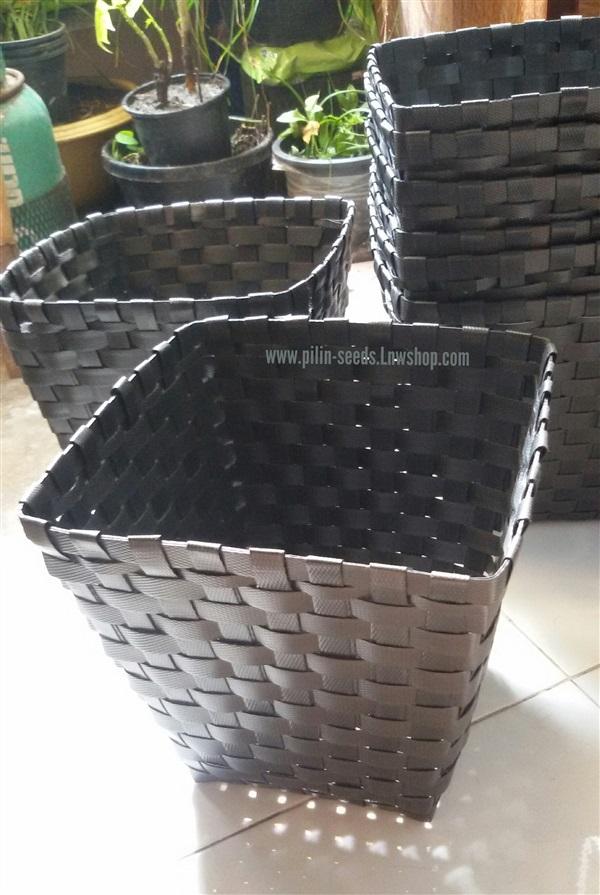 กระถางสานสายรัดพลาสติก(ปลูกพืชผัก)