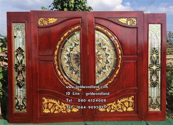 ประตูกระจกนิรภัยไม้สัก ประตูไม้สักทอง รหัส GBBB 108