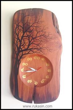 นาฬิกาไม้ มะค่า