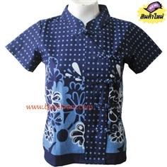 เสื้อหม้อห้อมพิมพ์ลายเชิงหยดน้ำฟ้าขาวคอจีนกระดุมจีนป้าย